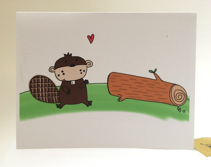 Beaver Naughty Card, I Like Your Wood, snarky sexy, made on recycled paper, comes with envelope and seal