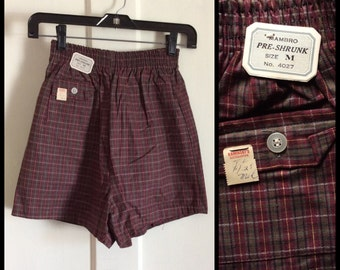 Deadstock Vintage 1960's Surfer Swimsuit Plaid Boxer Short Shorts NWT NOS 26 - 28 inch Waist Boys size Medium