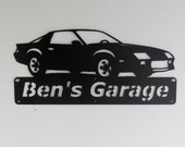 Personalized Man Cave Chevrolet Camaro Garage Sign Satin Black