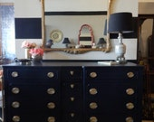 Beautiful black colonial wood dresser chest of credenza cabinet buffet storage