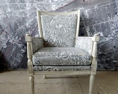 Pair of Vintage Chairs Arm Grey Floral Upholstery Off White with Grey Glaze Newly Upholstered