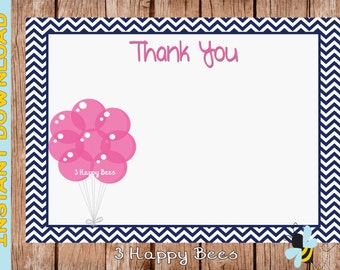Pink Party Balloon Thank you card. Instant download