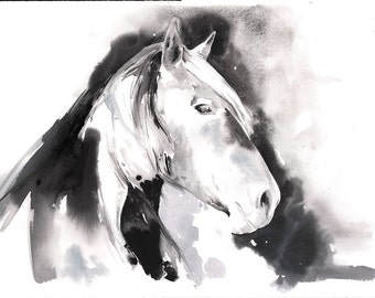Horse Painting, Original Watercolour Painting, Horse Watercolor, Horse Illustration. Impressionism, Horse