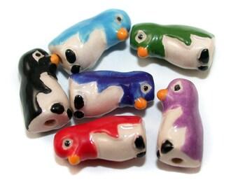 20 Tiny Penguin Beads - mixed - CB618