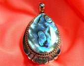 NAVAJO Large ABALONE or Paua Shell Pendant in STERLING Silver