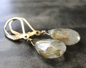 SALE Jewelry / Gemstone Dangle Earrings / Statement Earrings / Rutilated Quartz Drop Earrings / Accessories / Mothers Day Jewelry / Gift Box