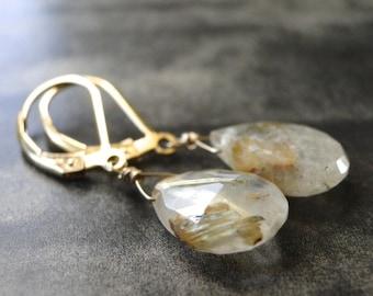 SALE Jewelry / Gemstone Dangle Earrings / Statement Earrings / Rutilated Quartz Drop Earrings / Accessories / Mothers Day Jewelry / Gift Box