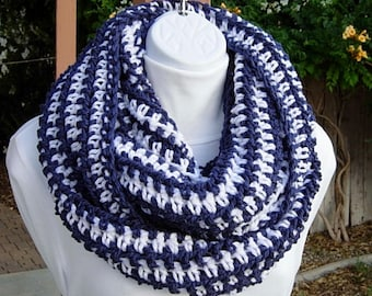 READY TO SHIP Long Infinity Scarf, Large Winter Cowl, Blue and White Scarf, Oversized Striped Scarf, Wide Soft Crochet Knit Endless Circle