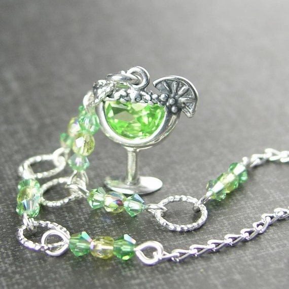 Girls Night Out Margarita Charm Necklace August Birthstone Sterling Silver Green Peridot Cubic Zirconia  Ladies Night Cocktail Necklace