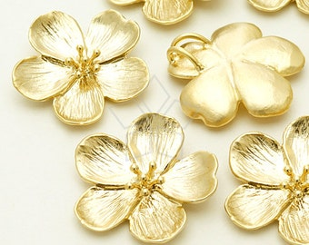 PD-1023-MG / 2 Pcs - Cherry Blossom Pandant L-Size for Necklace, Matte Gold Plated over Brass / 22mm x 21mm
