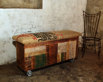 Reclaimed Wood and Recycled Coffee Sack Storage Trunk