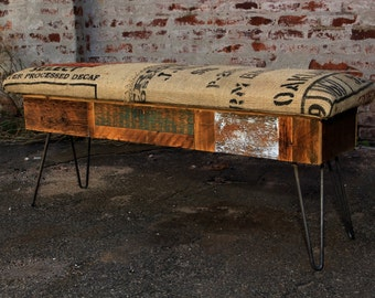 Reclaimed Wood and Recycled Coffee Sack Storage Benches
