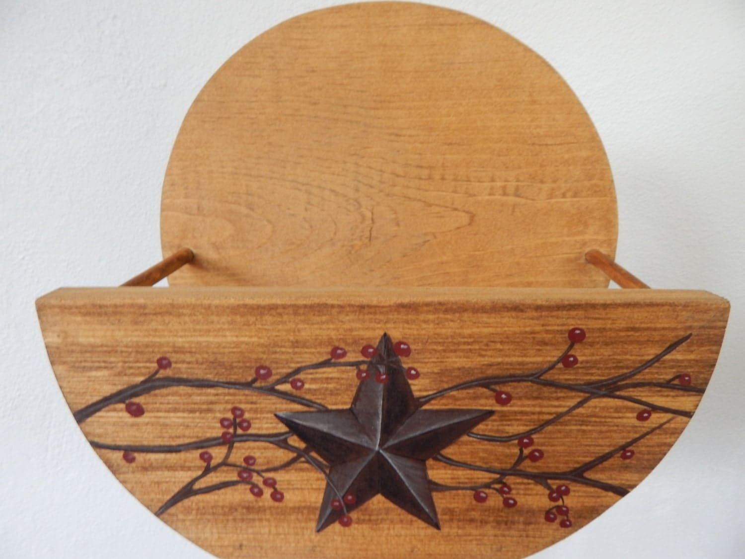 Rustic Star Kitchen Decor Paper Plate Holder Rustic Primitive Star And Berry Vines