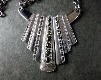 SALE Jet Black and Silver Art Deco Statement Necklace