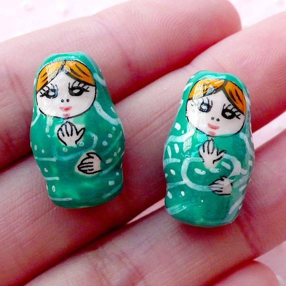 russian doll ceramic bead matryoshka pottery by