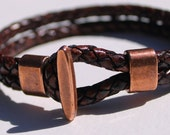Brown Braided Leather Bangle Bracelet with Copper Hook Closure