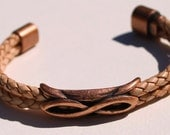 Blond Braided Leather Bangle Bracelet with Copper Infinity and Magnetic Closure