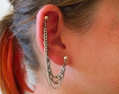 Cartilage Earrings Double Piercing Triple Chain Single Side