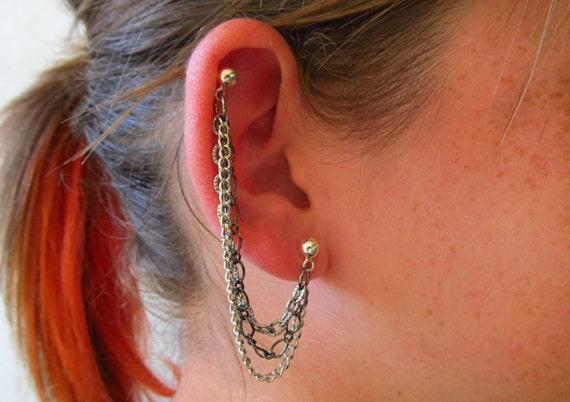 Cartilage Earrings Double Piercing Triple Chain Single Side