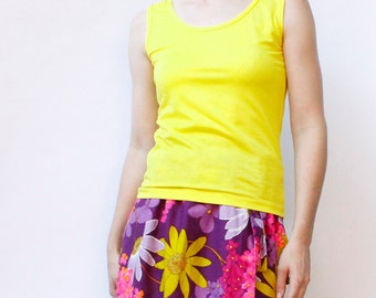 Vintage  60's yellow polyester Sears tank top, citrus bright yellow, scoop neck, fitted - Small / Medium