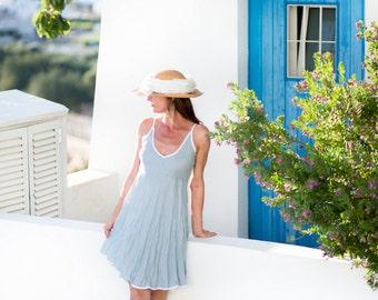 Short Vintage Blue Linen Dress / White Edging / Summer Dress / Pure Linen / Crinkled Linen / Boho Beach Dress / Hand Made