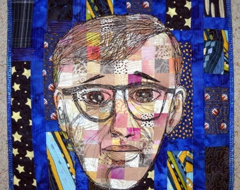 The Playwright or New York's Bard Art Wall Hanging Quilt Portrait of Woody Allen OOAK Original