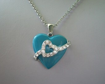 Nolan Miller Turquoise and Crystal Heart Necklace