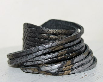Multi-Strand Bracelet,Snakeskin Print Leather Wrap Bracelet, Gray-Gold Python Print Leather Cuff
