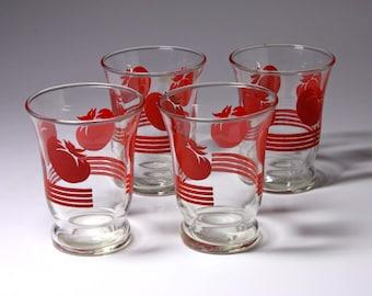 Vintage Tomato Juice Glasses - circa 1960's