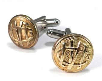 Vintage Mens Railroad Cufflinks Soldered Antique Railroad Uniform Buttons, Lehigh Valley Pennsylvania, Brass Steampunk Cuff Links