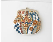 Deadstock vintage 1960s Mod change purse, clutch coin purse flower power floral psychedelic print