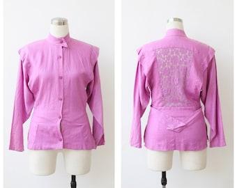 1980s Pink Jacket, Lace Back Linen Jacket XS Small, Designer Jacket S