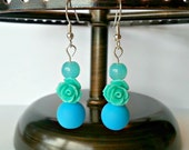 Turquoise and Blue Rose Earrings - Beaded Dangle Sky Blue Flower Summer Jewelry Gift