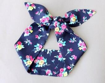 Top knot headband navy blue head wrap floral hair wrap pin up headband tie up headband hair accessories  adult headband women gift idea NORA