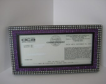 Black Satin Business / Cosmetology License Frame