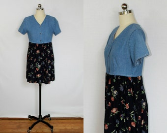 Vintage denim and floral grunge mini dress