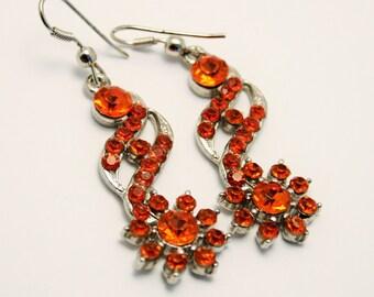 Vintage earrings. Orange crystal earrings. Long earrings. Drop earrings