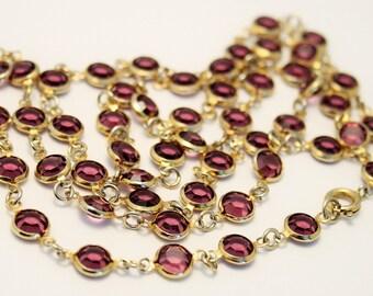 Vintage necklace. Open back crystal necklace. Purple crystal necklace