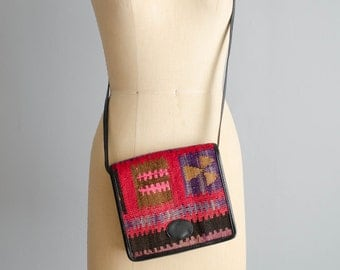 Vintage Kilim Cross Body Purse - 80s Kilim Bag - Izmir Kilim Bag