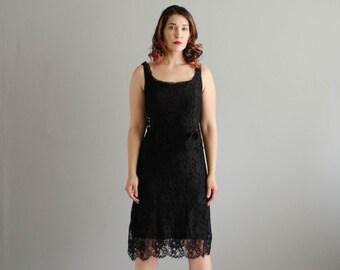 60s Lace Dress - Vintage 1960s Little Black Dress - Little Flirt Dress