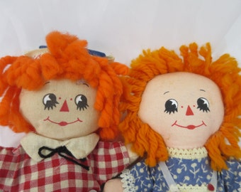 Vintage Raggedy Ann and Andy Soft Body Dolls Orange Yarn Hair Hallmark Cards Raggedy Ann Andy Pair Dolls 6 in Knickerbocker Toy Co.  1970's