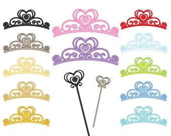 Princess Wand and Tiara - Digital Clip Art - in 12 colors