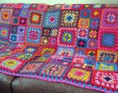 Vibrant Sublime Large Crochet Granny Square Blanket Afghan Throw