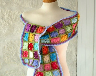 Retro Multi Coloured Magic Tiny Mini Granny Squares Crochet Scarf Wrap