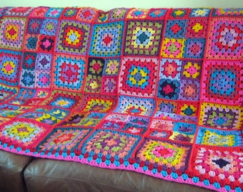 Vibrant Sublime Large Crochet Granny Squares Blanket Afghan Throw