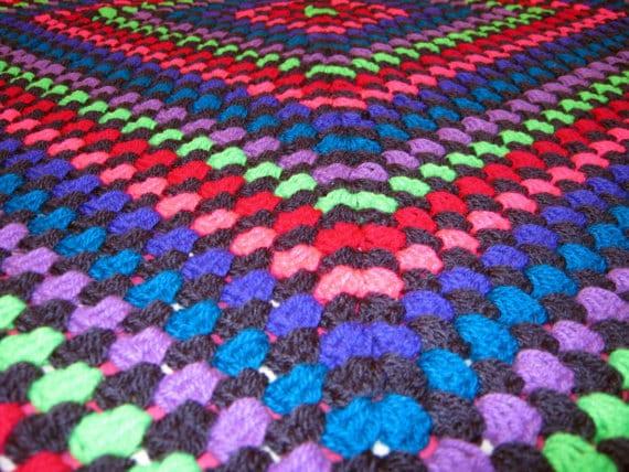 Festival Camping Crochet Neon Granny Square Blanket Afghan Retro