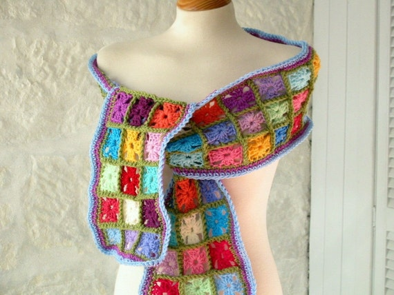 Retro Multi Coloured Magic Tiny Mini Granny Squares Crochet Scarf Wrap