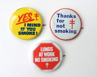 No Smoking Buttons Vintage American Lung Association