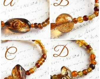 Summer Outdoors Artisan Glass Beaded Bracelet Thin Bracelet Bohemian Bracelet. Color Mix of Honey Brown Gold Amber Orange. Tribal Bracelet