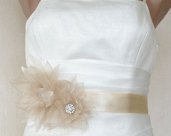 Handcrafted Champagne Star Lotus Fabric Flower  Wedding Dress Bridal Sash Belt